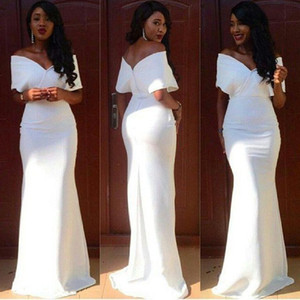 2019 Elegante Branco Barato Dama de Honra Vestidos Longos Sereia Fora Do Ombro Com Decote Em V Vestido de Convidado Do Casamento Até O Chão de Cetim Vestidos de Festa