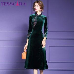 Vestidos estilo chino de la vendimia del traje TESSCARA invierno de las mujeres elegante del diseñador del bordado de terciopelo vestido Mujer largo del cóctel