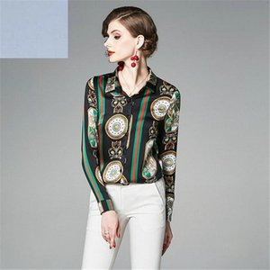 2020 spring new printed shirt fashion retro blue and white porcelain POLO collar single-breasted long-sleeved shirt women's clothing