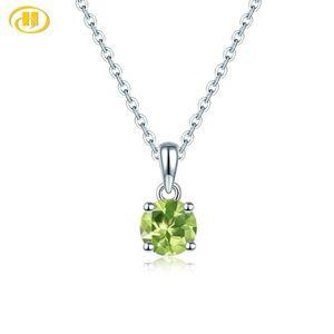Hutang Peridot 925 gümüş Kolye Yuvarlak 6mm hakiki Yeşil taşlar katı 925 ayar Gümüş zincir güzel basit zarif Takı