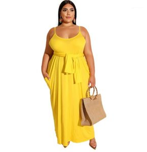 Candy Color Causal Cool Dress Leisure Solid Color Sling Dress Plus Size Floor Length Dresses Scoop Neck