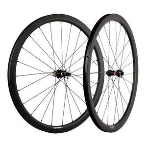 Profundidad 38mm Clincher / sin cámara / tubular del freno de disco de carbono de ruedas 700C 25 mm Anchura ruedas del carbón de la bici del camino UD Mate compite con las ruedas Novatec