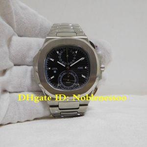 Hot Model Mens Watch Chrono Work Black Stainless Steel 40.5mm 5990 1a 5990 Nautilus Travel Time Quartz Movement Bracelet Men's Watches