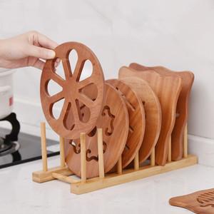 Деревянное Пан Мат Термостойкого Pan Pot Plate Coaster Утолщенного Solid Wood Hollow Anti-ошпарить Dish Пан Mat