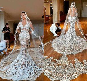 Vintage Lace Mermaid Wedding Dresses Arabic Dubai 2020 Court Train Bridal Gown Short Sleeve Illusion Back Vestidos De Novia Plus Size AL6271