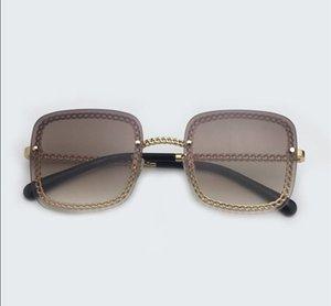 Fashion Square Sunglasses Mulheres 2019 Luxo Óculos alta óculos de sol de qualidade Ladies Alloy Frame Chain Sun Glasses Óculos vintage