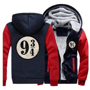 Tren a Hogwarts plataforma nueve y tres cuartos sudaderas casual chaqueta de invierno para hombre de la vendimia con capucha de marca de streetwear