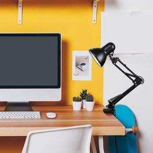 다기능 유연한 테이블 램프 스윙 암 클램프 마운트 나이트 라이트 LED 전구 램프 사무실 홈 데스크 조정 아이로 보호