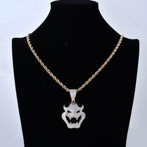 L'oro dell'oro bianco 18K completa CZ Cubic Zirconia Halloween Vampire Mostro Maschera Collana Twist catena monili di Hip Hop regalo per gli uomini