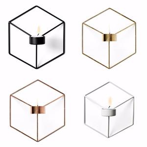 Candelabro geométrico Metal Nuevo Estilo Moderno 3D Titular de la vela de la pared Aplique A Juego Pequeño Tealight Adornos Para El Hogar D19011702