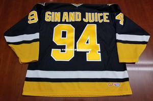 Günstige individuelle Gin and Juice Pittsburgh Penguins Vintage-CCM Jersey Schwarz Snoop Dog 1994 genähter Retro Hockey Jersey XS-5XL