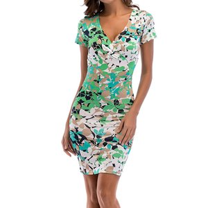 Women Sexy Short Sleeve Deep V-Neck Midi Dress Floral Print Bodycon Long Beach Dress Midi Pencil Dresses Cocktail Club Outfits