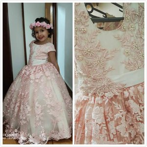 Lovely Jewel Neck Blush Flower Girls Dresses with Pearls Belt 2020 Cap Sleeve Lace 3D Floral Little Princess Birthday Wedding Party Gown