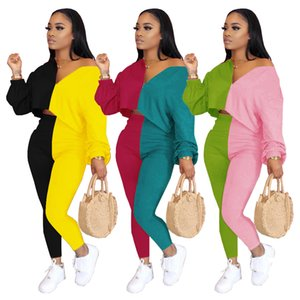 2020 Newest Colors Spliced Women Two Pieces Sets Autumn Winter V Neck Long Sleeves Top + Pants Fashion Party Casual Outfits Tracksuits