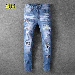2019 top quality 007 amiri Jeans известный бренд дизайнерские джинсы мужская мода уличная одежда мужские байкерские джинсы мужские брюки