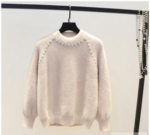 Alta calidad estilo coreano dulce llegada de la moda de color sólido con cuentas imitación de diamante mohair suéter femenino linterna manga suéter