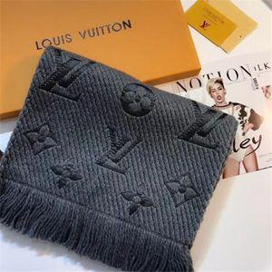 2020 Winter LOGOMANIA SHINE Brand Luxury Scarf Women and Men Two Side Black Red Silk Wool Blanket Scarfs Fashion Designer Flower Scarves C