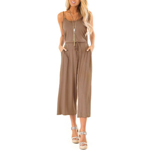 feitong rompers womens jumpsuit summer Women Sleeveless V Neck Playsuits Beach Jumpsuit High Waisted Wide #3.5+1