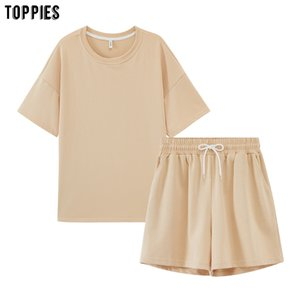 toppies summer tracksuits womens two peices set leisure outfits cotton oversized t-shirts high waist shorts candy color clothing T200704