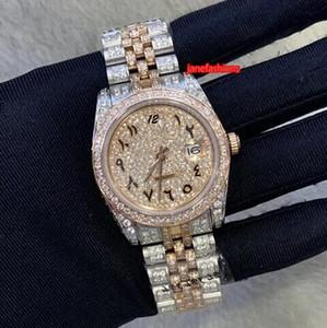 Arapça Dijital Elmas Saatler Bi-Rose Gold Diamond Erkekler Sıcak Bilek İzle Takvim Otomatik Mekanik İzle Mezun