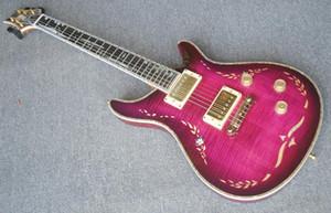 1996 개인 주식 폴 리드 퍼플 레드 플레임 메이플 탑 일렉트릭 기타 조류 대나무 전복 인레이, 이글 헤드 스톡, 기념일 버전