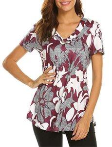 Drucken Lange Damen-T-Shirts schließen Hülsen-Art- Blumendruck-Damen Tops Damen Kleidung lose mit V-Ausschnitt