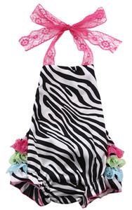 아기 소녀 꽃 Romper 드레스 레이스 프릴 밧줄 등받이 파티 옷 아기 rompers 여자 의류 신생아 의류