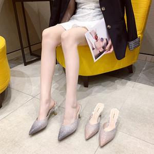 Sapatos faísca de casamento das mulheres sandálias de salto alto do dedo do pé apontou sapatos de noiva Abrir Heel Ladies Chinelos Partido Prom desgaste Cerimônia Pé Em armazém