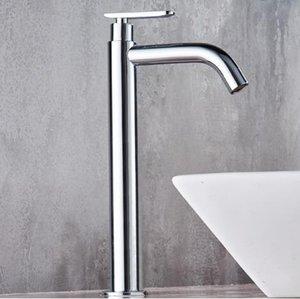Tuqiu Único Bacia do banheiro do misturador afundar latão cromado alto torneira para T200107 água fria