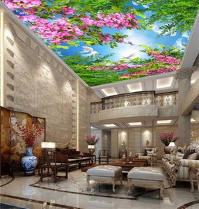 Simple sky warm cherry blue sky white clouds living room ceiling ceiling 3D stereo wallpaper large mural wallpaper