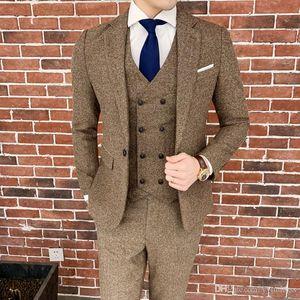 Dark Brown Wool Groom Tuxedos 2019 One Buttons Notched Lapel Groomsmen Best Man Suits Formal Business Suits ( Jacket+Pants+Tie+Vest )