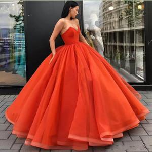 Querida orange cetim tule vestido de baile quinceanera vestidos de baile espartilho até o chão zipper up simples vestidos de noite formal desgaste