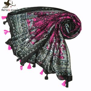 MarteJoven Style Ethnique Motif Paisley Violet / Noir Long Hijab Écharpe pour Femmes Bohème Automne Hiver Doux Chaud Couverture Châles