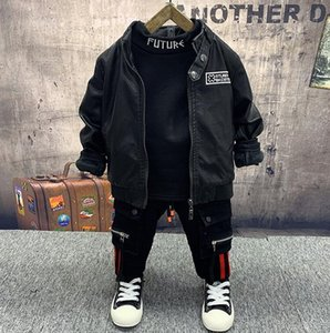Baby Boy winter Clothes Set Toddler Kids Clothing set Warm boys PU leather coat+ thick T-shirt + thick jeans 3Pcs set 2-6Years