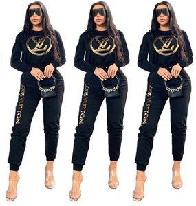 2XL Mujeres chándal 2 Piezas jerséis con capucha top + pantalones carta informal al aire libre trajes chándal del traje del otoño invierno 1420 trotar