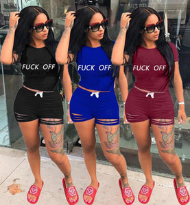 Solid Color Womens 2 Piece Outfits Sports Style Womens Clothing Summer Female Womens Tracksuits Letter Printed