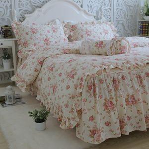 New Garden Flower Print Bedding Set Quality Full Cotton Ruffle Duvet Cover Elegant Bed Sheet Skirt Type Princess Bedspread T200706