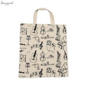 Music Score Cotton Handbag Musical Elements Note Tote Bag Fashion Instruments Accessories