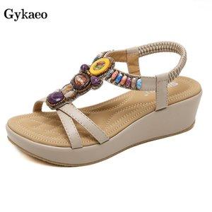 Gykaeo 2019 New Korean Style Fashion Sandals Bohemian Slope Heel Summer Shoes Beaded Large Size Wedges Shoes for Women Sandalias