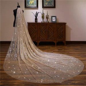 sparkly Blingbling Glitters Bridal Veils Luxury Wedding Veil Bride 3*3.5Meters Long Cathedral Veil With Comb Peigne Mariage