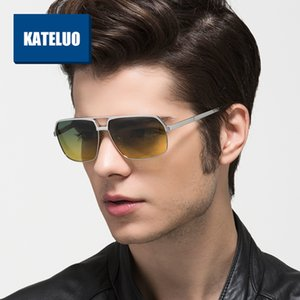 KATELUO 2020 Day Night Vision Goggles Anti-glare Driver's Glasses for Men Square Polarized Gradient Lens Mens Sunglasses 8549