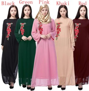 Muslim national style dress Embroidered long sleeve dress