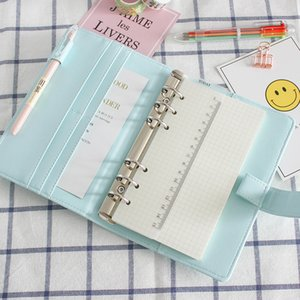 Cute A5 A6 Leather Loose Leaf Refill Notebook Cover Spiral Binder Macaron Color Kawaii Stationary Planner Replacement Cover