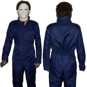 Halloween Designer Jumpsuits Cosplay Theme Costume Lapel Neck Long Sleeve Solid Color Festival Homme Clothing Mens