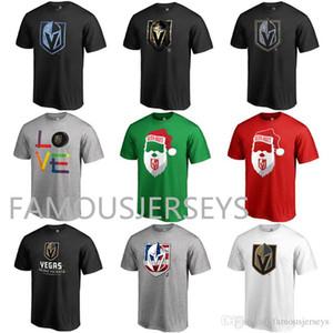 Vegas Golden Knights Hockey T-shirt Fãs Tops LOGO Tees Hot-impresso Papai Noel vermelho verde dos homens clássicos de esportes EUA Grey usar Acredite Flower