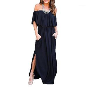 Designer Robe Grande spiralé Poitrine Solide Couleur Mode Casual Jupe longue d'été Femmes Ruffle