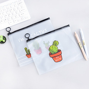 Astuccio per matite trasparente grande Simpatico astuccio per penne Kawai Cactus per bambini, regalo per bambini, cancelleria coreana, materiale scolastico per ufficio