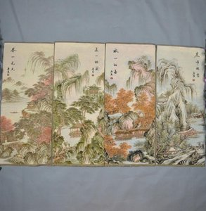 공장 직접 브로케이드 실내 장식 Chunjiang 배관을 사는 마음의 풍경을 그림 네 개의 화면을 그림 실크 자수 그림