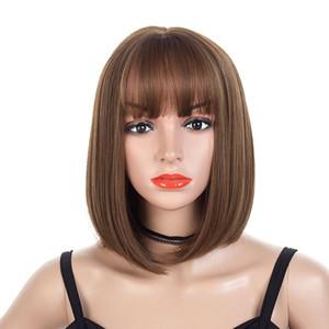 Perücke Air Bangs Big Scalp bobo Wellenkopf-Perücke Gesicht Natürliche Perücke Women Short Perücken