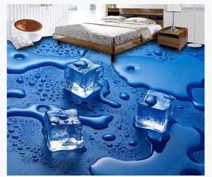 3D personalizzato PVC autoadesiva murale carta da parati per pavimenti Impermeabile bagno cubetti di ghiaccio 3D piastrelle per pavimento